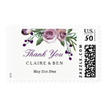 Romantic Plum Purple Rose Floral Wedding Thank you Postage