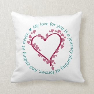 Romantic Poem Heart Pillow