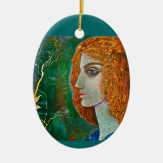Romantic, Poetic Spring Pendant Double-Sided Oval Ceramic Christmas Ornament