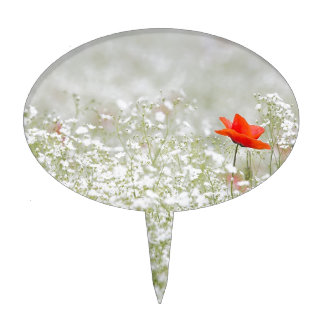 Romantic Poppy Flower Red White Meadow Cake Topper