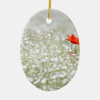 Romantic Poppy Flower Red White Meadow Ceramic Ornament
