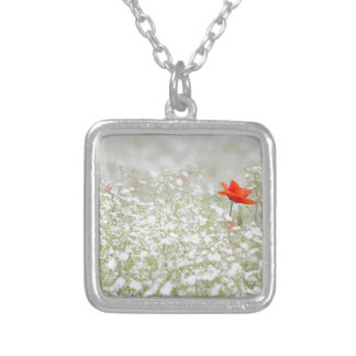 Romantic Poppy Flower Red White Meadow Square Pendant Necklace