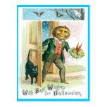 Romantic Pumpkin Vintage Postcard
