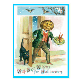 Romantic Pumpkin Vintage Postcard