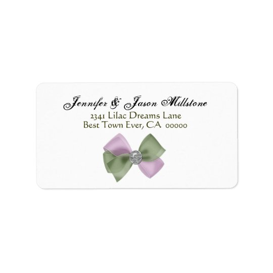 Romantic Purple and Sage Green Bow Wedding Label