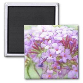 Romantic Purple Butterfly Bush Flowers 2 Inch Square Magnet