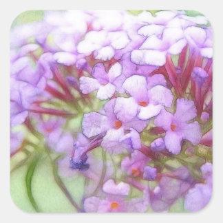 Romantic Purple Butterfly Bush Flowers Square Sticker