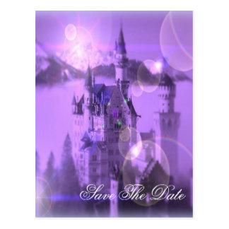 Romantic purple castle dream vintage wedding postcard