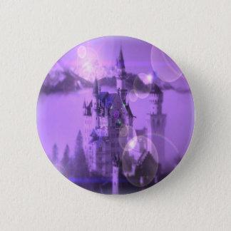 Romantic purple castle gothic wedding pinback button