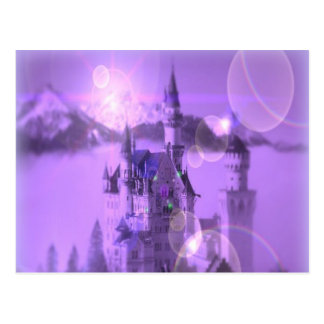 Romantic purple castle gothic wedding postcard