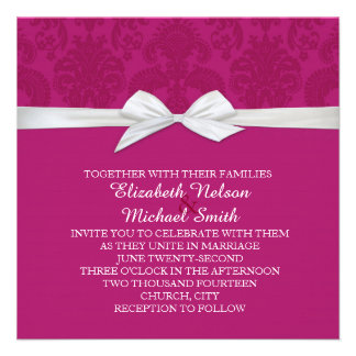 Romantic Purple Damask Wedding Invite