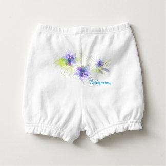Romantic Purple Flowers Personalized Diaper Cover