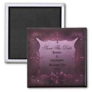 Romantic Purple Gothic Frame Save The Date Wedding Fridge Magnets