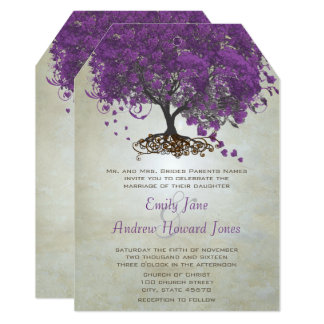Romantic Purple Heart Leaf Tree Wedding Card