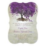 """Romantic Purple Heart Leaf Tree Wedding 5"""" X 7"""" Invitation Card"""