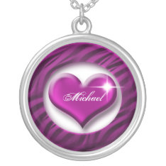 Romantic Purple Heart Love Valentine Gift Silver Plated Necklace at Zazzle