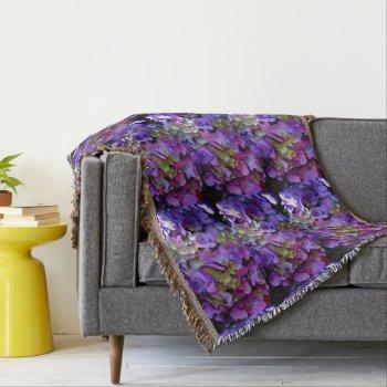 Romantic purple Hydrangeas Throw Blanket