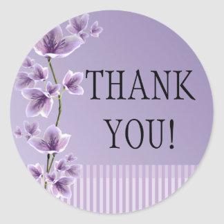 Romantic Purple Lilac Floral Thank You Stickers Round Sticker