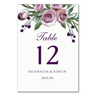 Romantic Purple Plum Floral Wedding Table Numbers