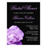 Romantic purple rose wedding bridal shower invite