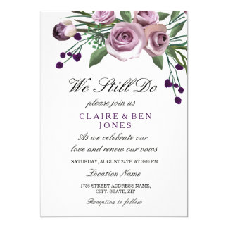 Romantic Purple Rose Wedding Vow Renewal Invite