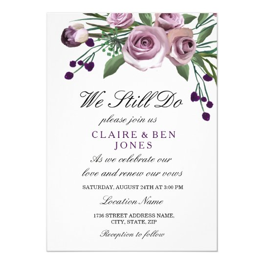 Romantic Purple Rose Wedding Vow Renewal Invite Zazzle Com