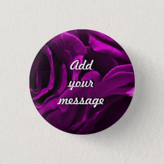 Romantic purple roses floral photo button