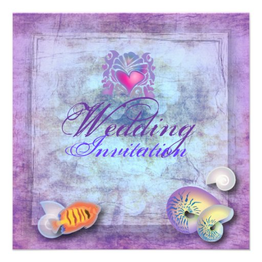 Romantic Purple Seashell Beach Wedding Invitation