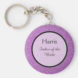 Romantic Purple Sparkles Wedding Favor Keychain