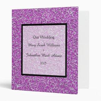 Romantic Purple Sparkles Wedding Keepsake Planner 3 Ring Binder