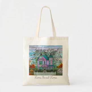 Romantic Purple Victorian House Picket Fence Tote Bag