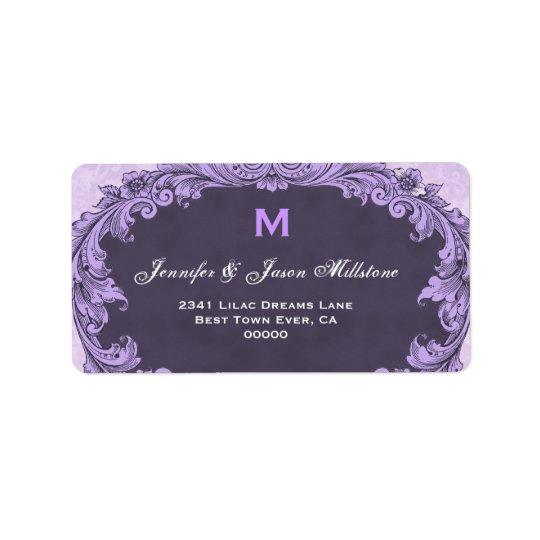 Romantic Purple Vintage Monogram Label