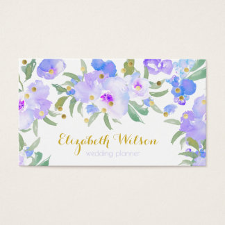 romantic purple watercolor flowers and gold dots business card