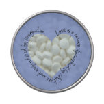 Romantic Quote Heart Candy Tin (blue) with Mints