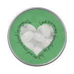 Romantic Quote Heart Window Candy Tin (green)