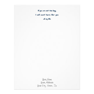 Romantic Quote - If you are not too long, I will … Letterhead