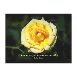 Romantic Quote Yellow English Rose Canvas Print