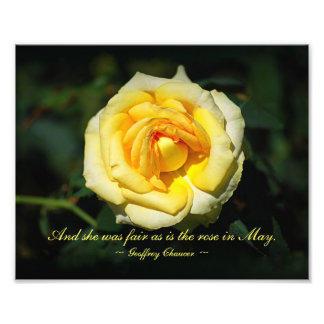 Romantic Quote Yellow English Rose Photo Print