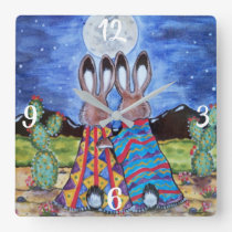 Romantic Rabbit Moon Southwest Clock Jackrabbit