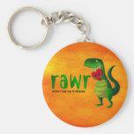 Romantic RAWR T-rex Dinosaur Basic Round Button Keychain