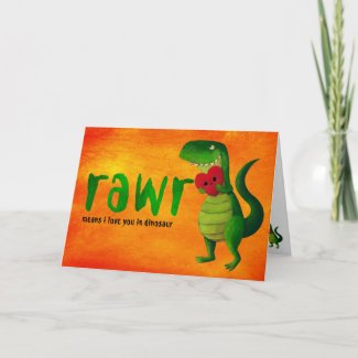 Romantic RAWR T-rex Dinosaur Greeting Cards