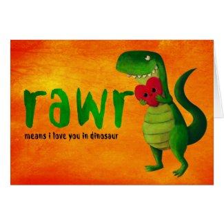 Romantic RAWR T-rex Dinosaur Greeting Cards