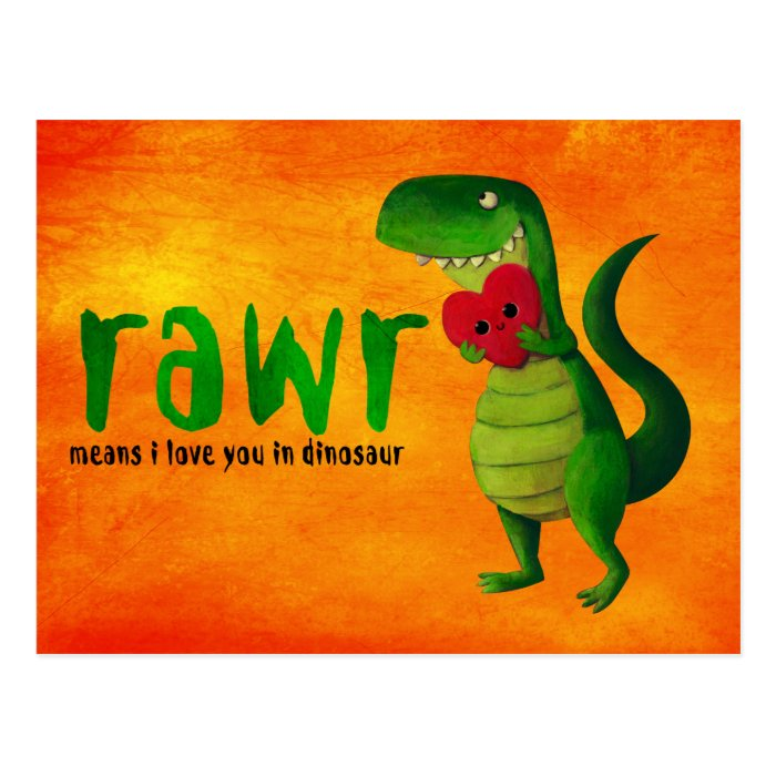 Romantic RAWR T-rex Dinosaur Postcard