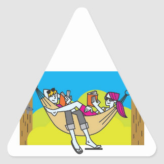 Romantic Reading In The Summertime Triangle Sticker