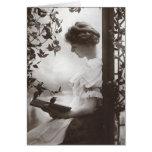 Romantic Reading Woman Greeting Card