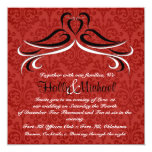 Romantic Red and Black  Dove  Wedding Invitation