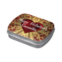 Romantic red and gold heart jelly belly candy tin