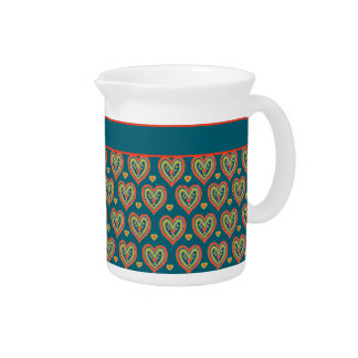 Romantic Red and Green Hearts on Dark Teal Drink Pitcher