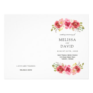 Romantic Red and Pink Roses Wedding Programs