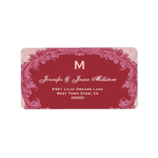 Romantic Red and Pink Vintage Monogram Label
